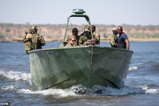 Prior to taking a trip with the anti-poaching patrol, Harry revealed his deep affinity with Botswana, adding: 'I came here in 1997 or 1998 straight after my mum died, so it was a nice place to get away from it all. I feel deeply connected to this place and to Africa'