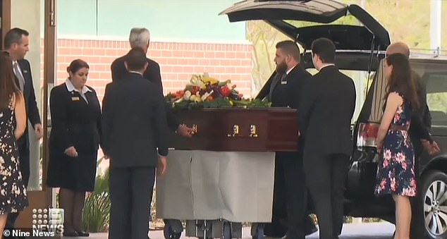 Emiliano Lombardi, 84, was brutally attacked outside of his Perth home on August 16 and died two weeks later. He was laid to rest in a vegetable adorned casket on Friday (pictured)