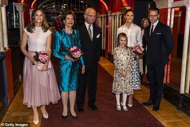 The Swedish Royal Family: Princess Sofia, Queen Silvia, King Carl XVI Gustaf, Princess Estelle, Crown Princess Victoria and Prince Daniel of Sweden attend a concert hosted by Lilla Akademien, a children's music school, at the Vasa theater on February 13 in Stockholm