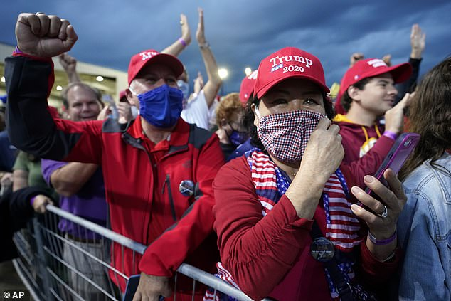 Trump supporters are seen waiting for the President's arrival in Newport News, Virginia