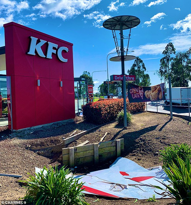 The fast food restaurant's basket in Hoxton Park, in the state's west, was crushed after it flew off the pole due to dangerous winds of 115km/h on Friday evening