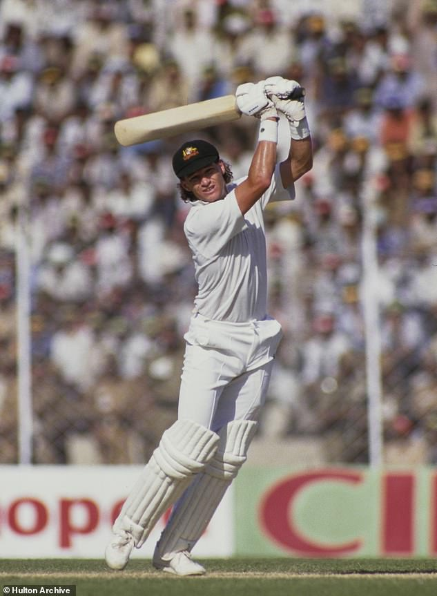 Jones is seen batting duringthe 1987 World Cup match against Indiaon October 9, 1987