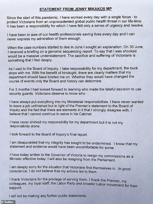 Jenny Mikakos posted a letter on Twitter Saturday announcing that she is quitting as both a minister and member of parliament
