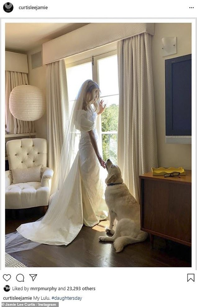 Mother of the bride: Jamie Lee Curtis, 61, took to Instagram with a throwback from daughter her 33-year-old daughter Annie's wedding day, writing: 'My Lulu. #daughtersday'