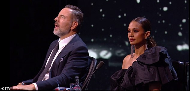 Awestruck: It's clear to see the judges were moved by her performance as David is seen closing his eyes in enjoyment as he mouths along to the words, while Alesha could barely take her eyes off Belinda