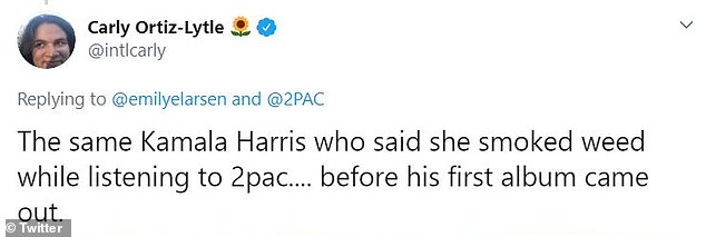 Many pointed to a radio interview in February where Harris said she listened to Tupac and Snoop Dogg while smoking marijuana in her college days
