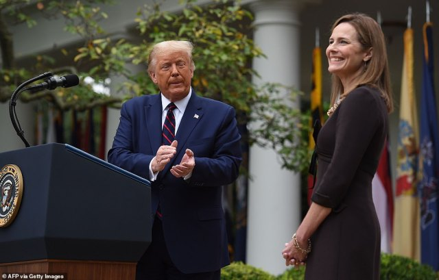 President Donald Trump (left) officially nomimated Judge Amy Coney Barrett (right) Saturday at the White House