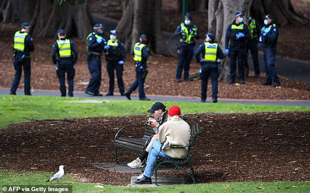 Police outnumber citizens in Melbourne as they are still only allowed outside for two hours of exercise and the curfew remains in place