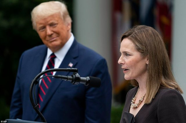 Judge Amy Coney Barrett speaks after President Donald Trump announced Barrett as his nominee to the Supreme Court