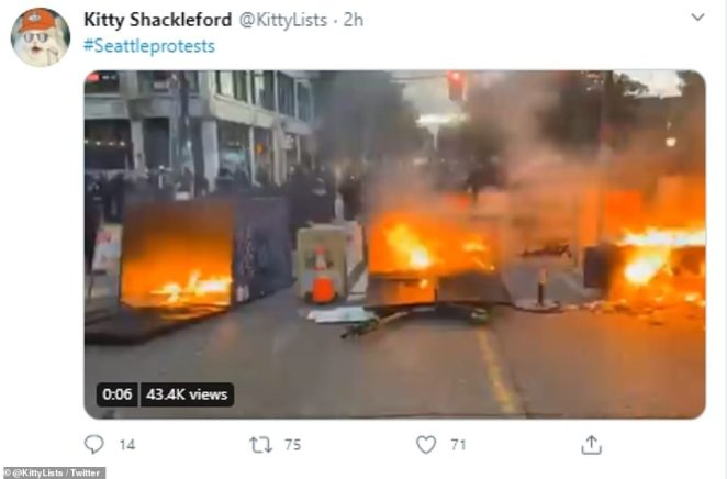 Twitter video showed the dumpster fires in the Capitol Hill area of the city