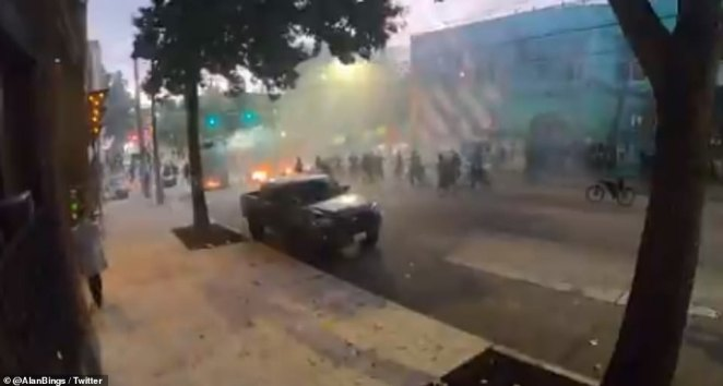 Streets filled with smoke as police arrived on scene to deal with protesters