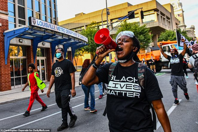 Protestoers were seen taking to the streets for a fourth night in downtown Louisville
