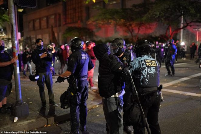 Portland police arrested those who had broken the law while taking part in the downtown protest
