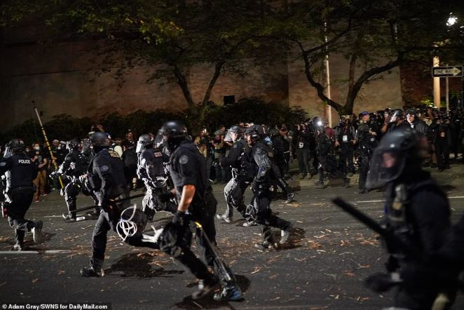 There appeared to be running battles with police in the streets of Portland on Saturday night