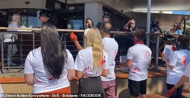 As tensions rose, the group began chanting: 'Humane slaughter is a lie, animals do not want to die'