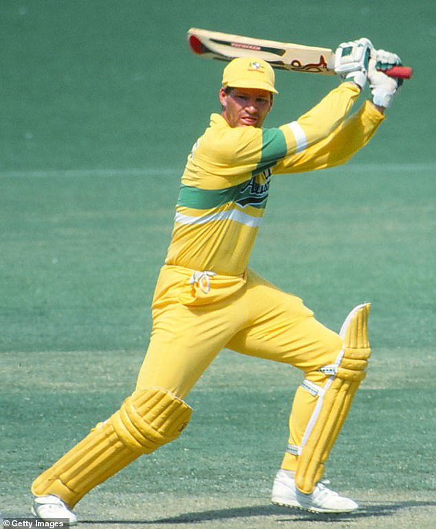 Jones hits a clean stroke for Australia during a One Day International in February 1990