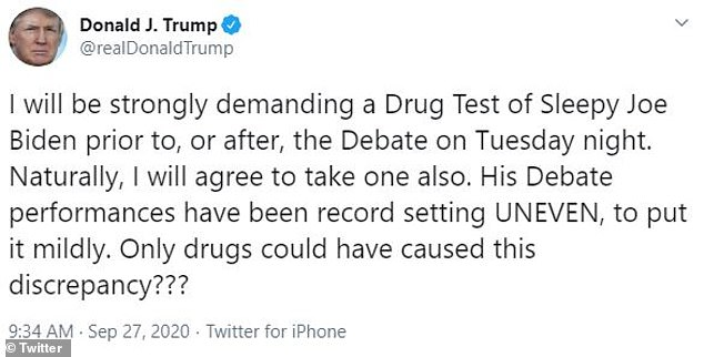 President Donald Trump doubled down on his demand that Joe Biden take a drug test before the first presidential debate on Tuesday