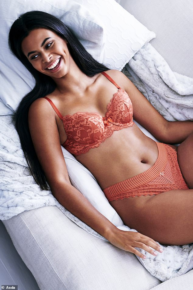 Lingerie: She then slipped into a pretty floral terracotta bra as she reclined on a bed, displaying her slender waist in the radiant snap