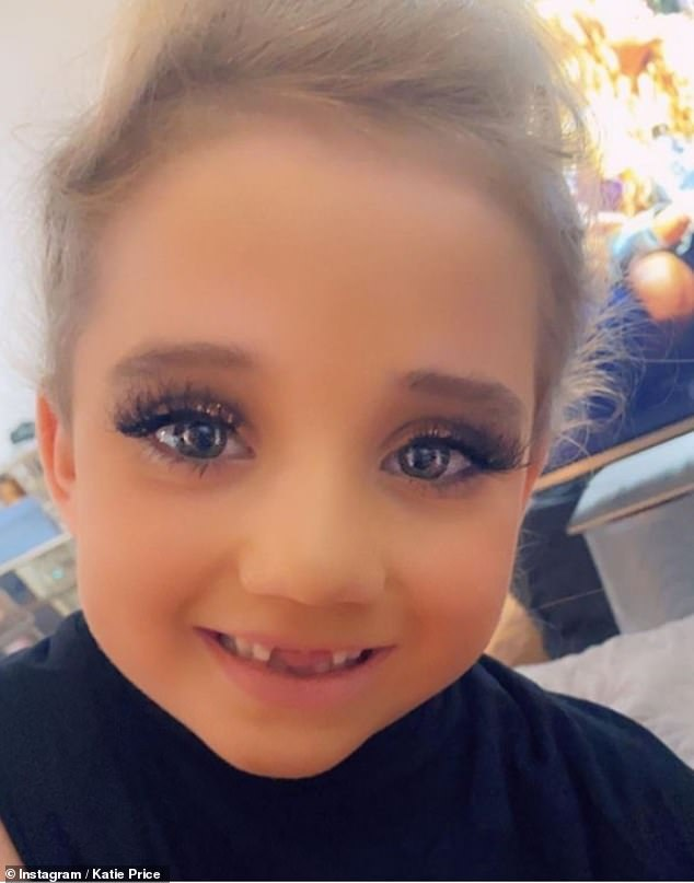 'She's too young': Katie Price divided fans as she shared photos of her daughter Bunny in a full face of make-up and false lashes on Instagram on Sunday