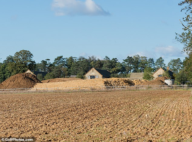In the works: Excavators have been seen digging out tons of soil at the estate in Oxfordshire
