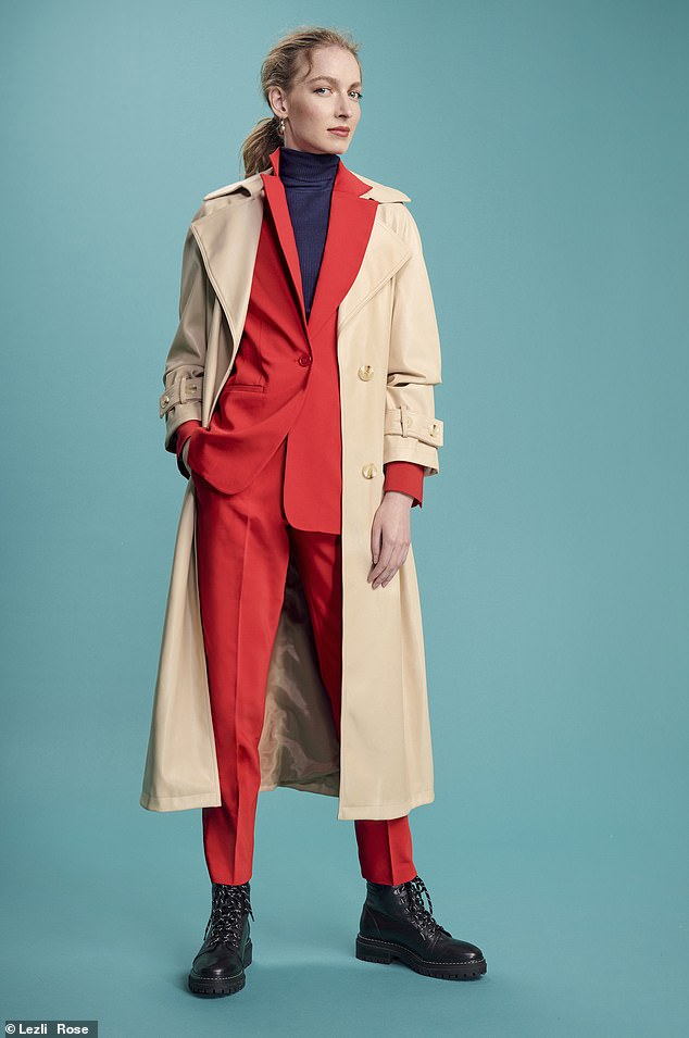 Coat, £79, topshop.com; blazer, £114, and trousers, £95, baukjen.com; Whistles boots as before