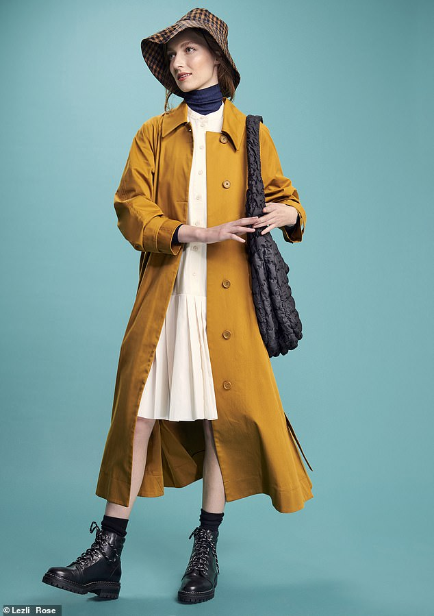 Coat, £150, dress, £34.50, and bag, £59, cosstores. com; roll-neck, £26.97, gap. co.uk (worn throughout); boots, £148, whistles.com; hat, £3, topshop.com