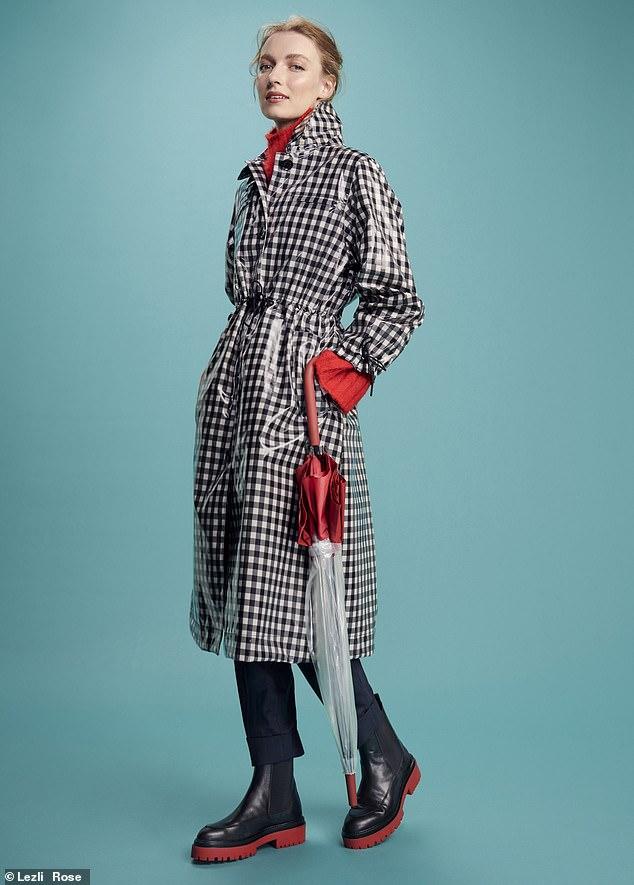 Barbour coat, £299, alexa chung.com; jumper, £28, asos. com; Cefinn trousers as before; boots, £95.99, topshop.com; umbrella as before