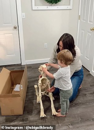 In another video, Theo gets super excited about having a skeleton pet for his bony pal
