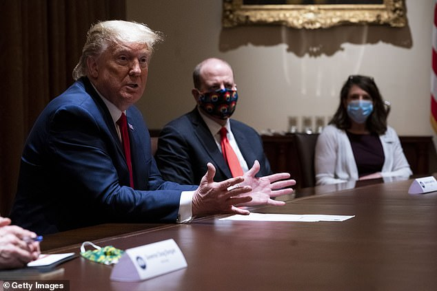 The campaign would take a positive look at the Trump administration's handling of the COVID-19 pandemic. Trump pictured on May 13