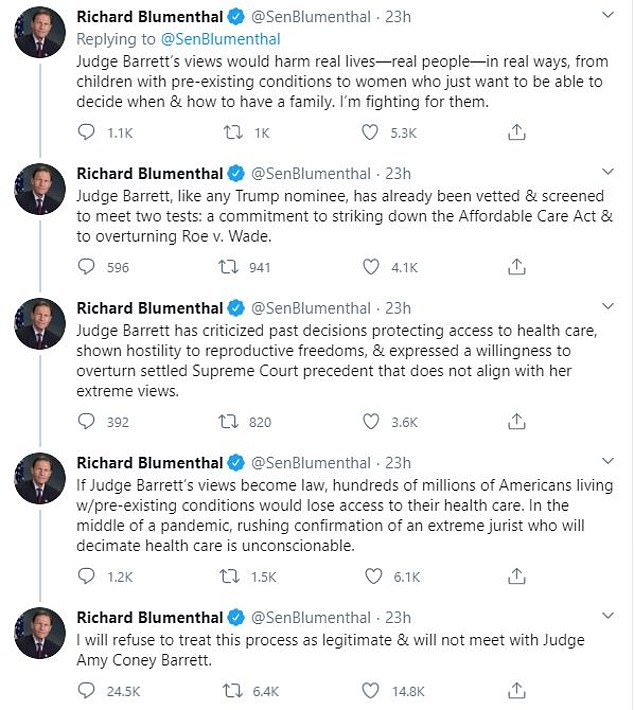 Blumenthal echoed Hirono's thoughts on Barrett's perspective on certain issues
