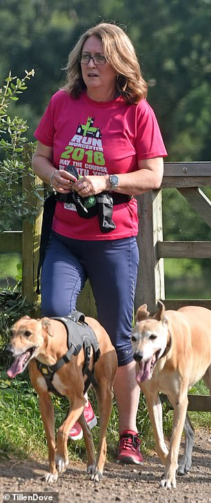 Nearly showtime : Jacqui enjoyed a walk with the dogs as she prepared for the live shows