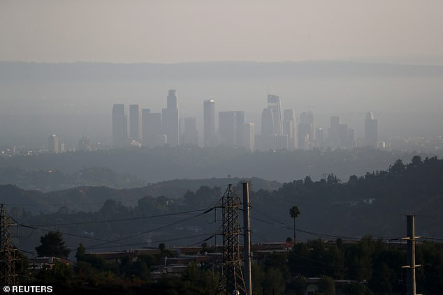 Los Angeles is seen blanketed by smoke from wildfires on September 23