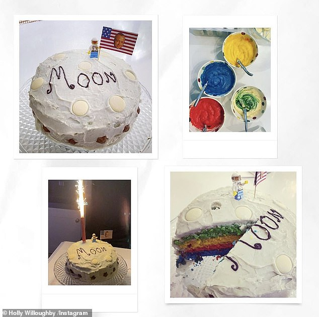 Fun: Holly posted a collection of snaps of the finished cake covered in white icing and decorated with white chocolate buttons