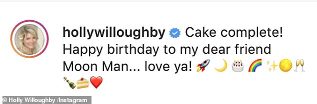 The star added a Lego figurine in a spacesuit holding a miniature USA flag, captioned: 'Cake complete! Happy birthday to my dear friend Moon Man... love ya!'