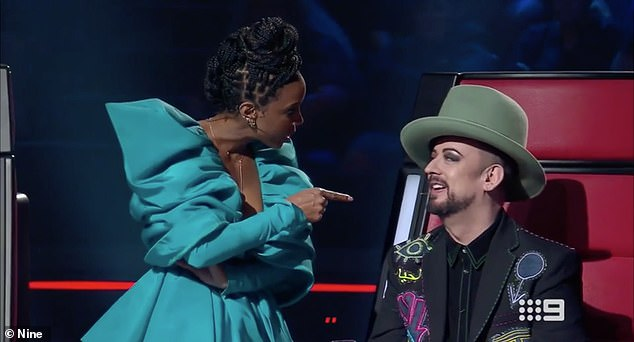 Booted? The source claimed Seven will likely replace international stars Kelly Rowland (left) and Boy George (right)