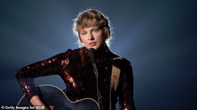 2020 ACM Awards:Folklore's 97% uptick in sales comes after Swift's live performance of her new single Betty at the 2020 ACM Awards on September 16 in Nashville; Swift pictured on September 16