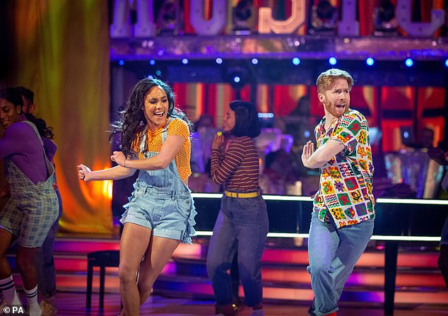 Happier times: Choreographer Neil, 38, who is also said to be 'devastated' by the bosses' decision, appeared on the 2019 edition with ex-footballer Alex Scott (pictured)