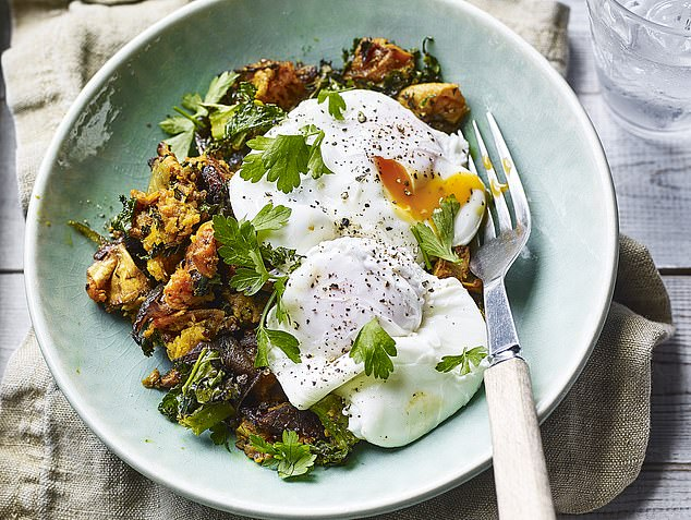 Sweet potato hash, kale and poached eggs