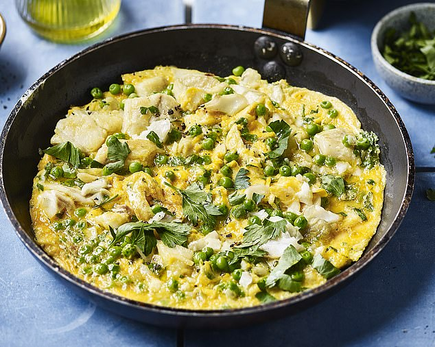 Smoked haddock omelette with peas