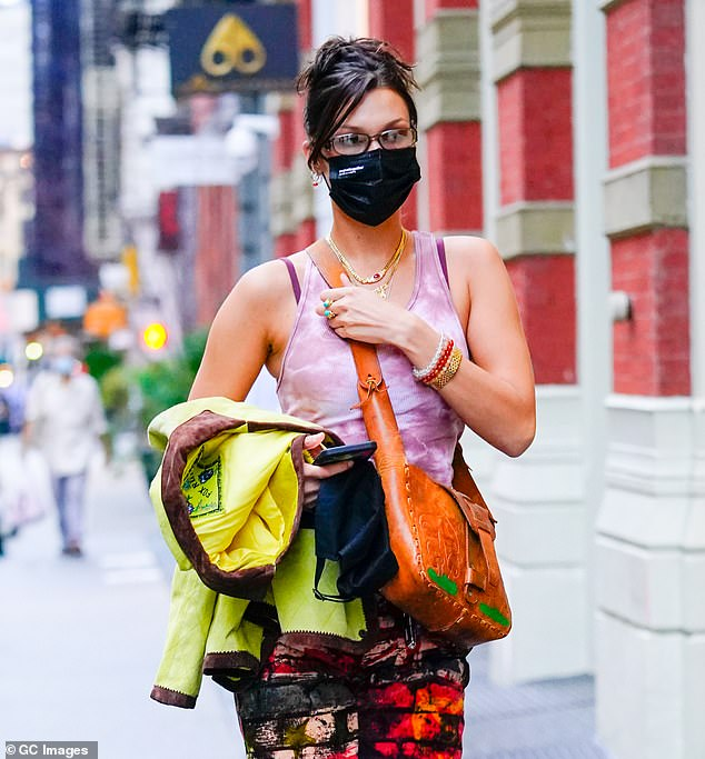 Safety first: In order to prevent the spread of COVID-19, Hadid made sure to wear a face mask