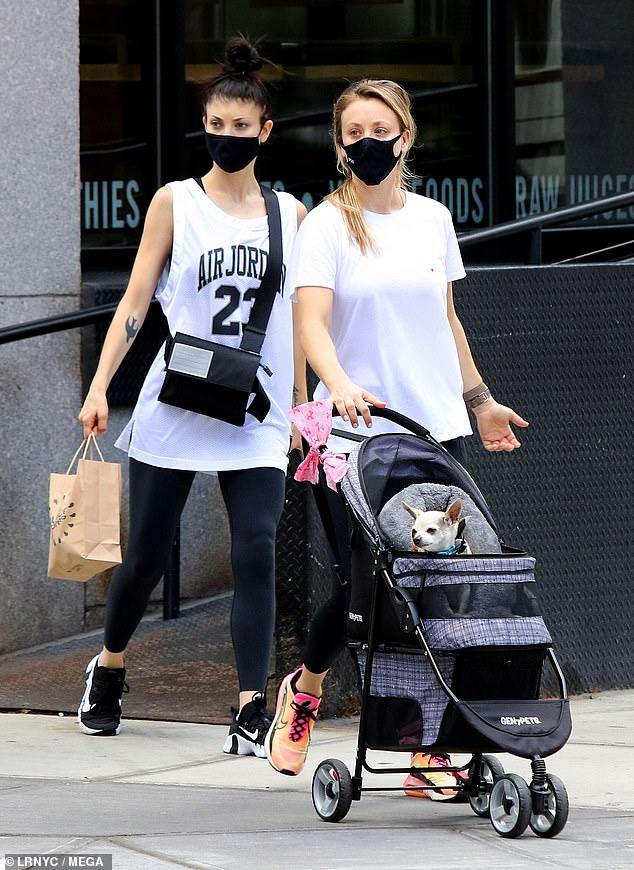Casual outing: Kaley Cuoco enjoyed a stroll in the Big Apple with her sister Briana and her beloved rescue pup Dumpy on Sunday