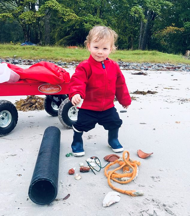 Quinn Mather, from Glasgow, at just 18 months old was out with his family every day gathering litter to put in his bright red pull-along cart