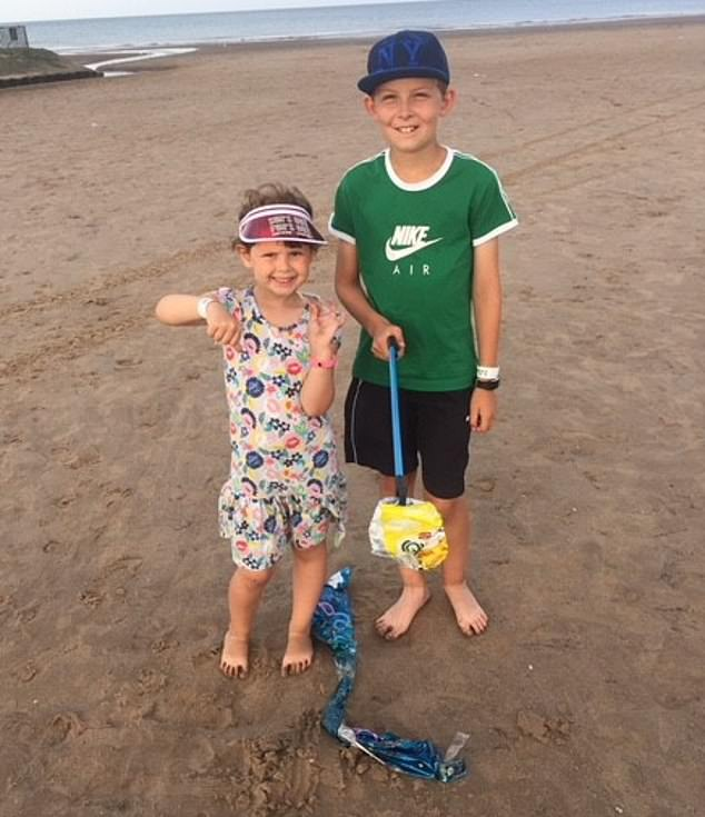 Finley Delves, 12, and sister Evie, eight, from Kettering, Northamptonshire, have been picking up waste for years and always take two bags down to the beach for collections – one for litter and one for 'treasure' such as shells or stones