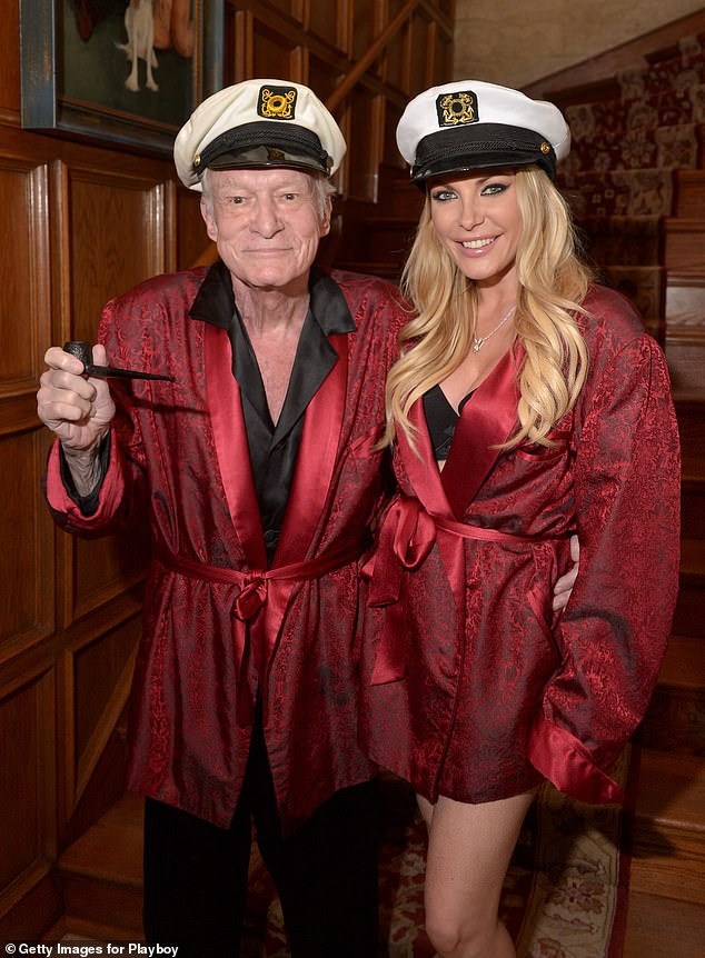 Heartfelt: Crystal Hefner, 34, shared a loving tribute to her late husband Hugh Hefner on the third anniversary of his death; they are pictured in October 2014