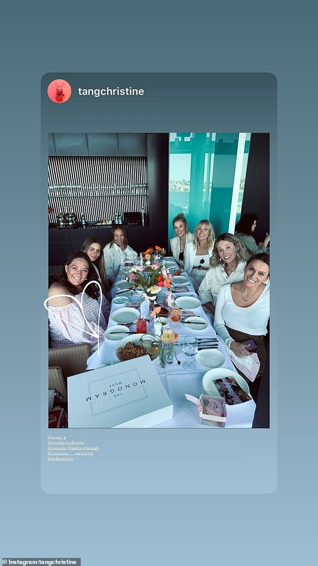 Girl's day out!Jasmine joined several girlfriends and her sister Jade Yarbrough at the upscale restaurant to celebrate her good friend's impending arrival