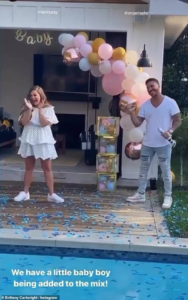 Surprise: 'It¿s a BOY!!!!' captioned Cartwright, 31, who shared a slew of pictures and videos from the joyous gathering to her Instagram
