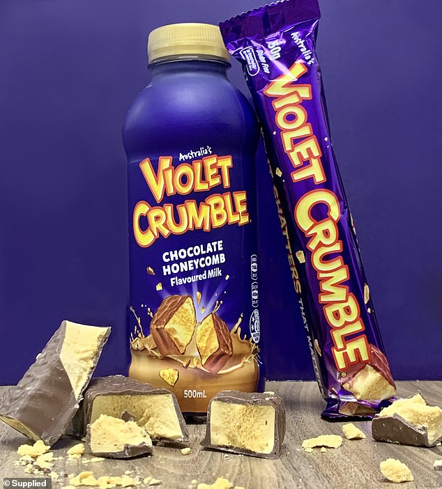 The Violet Crumble chocolate honeycomb flavoured milk will officially hit supermarket shelves for $4.50 per bottle on Thursday, October 1
