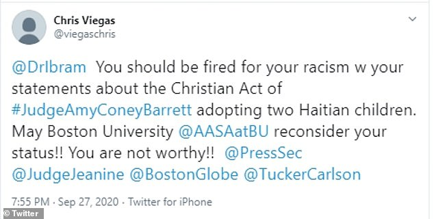 Chris Viegas called for Boston University to fire Kendi, tweeting: 'You are not worthy!'