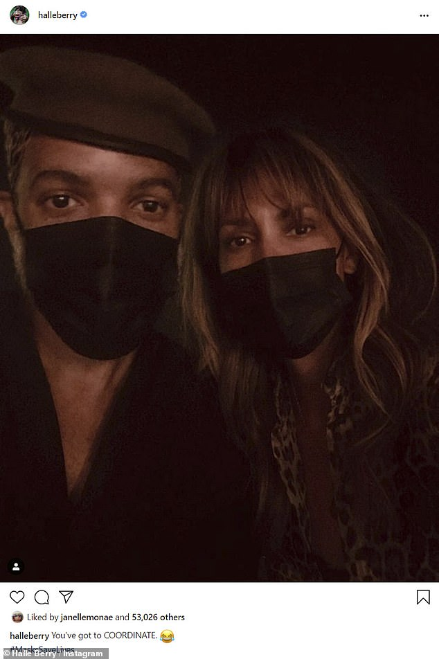 'You've got to COORDINATE': Berry, 54, shared a selfie to Instagram on Sunday in which she's seen with her new beau Van Hunt, 50, wearing matching black cloth face masks
