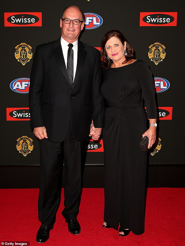 Standing strong: The happy news follows Kochie and his wife Libby, (pictured) welcoming their six grandchild in April
